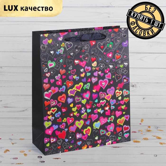 """Package gift """"Colorful hearts"""", Lux, 26 x 10 x 32 cm"""