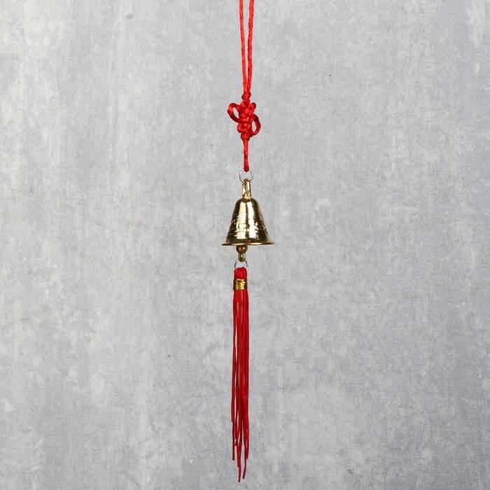 Колокольчик на подвеске с узлом счастья d=2,8 см, под золото
