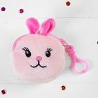 Мягкий кошелёк «Заинька», на карабине, цвет розовый