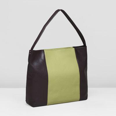 Сумка женская, отдел на молнии, цвет оливковый/коричневый