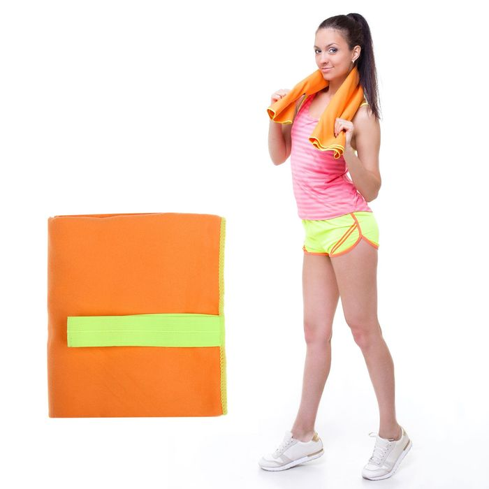 Спортивное полотенце ONLITOP, размер 70х90 см, оранжевый, 200 г/м2