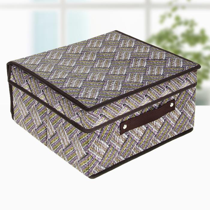 """Короб для хранения с крышкой 30×28×15 см """"Клетка"""", цвет серо-коричневый - фото 184681907"""