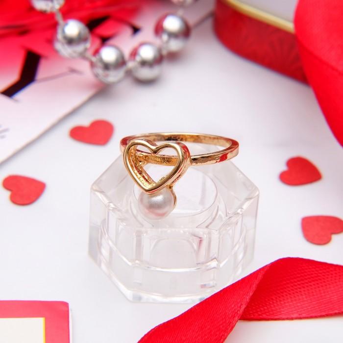 """Кольцо """"Сердце"""", размер 16, цвет белый в золоте"""