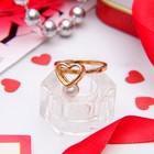 "Кольцо ""Сердце"", цвет золото, размер 18"