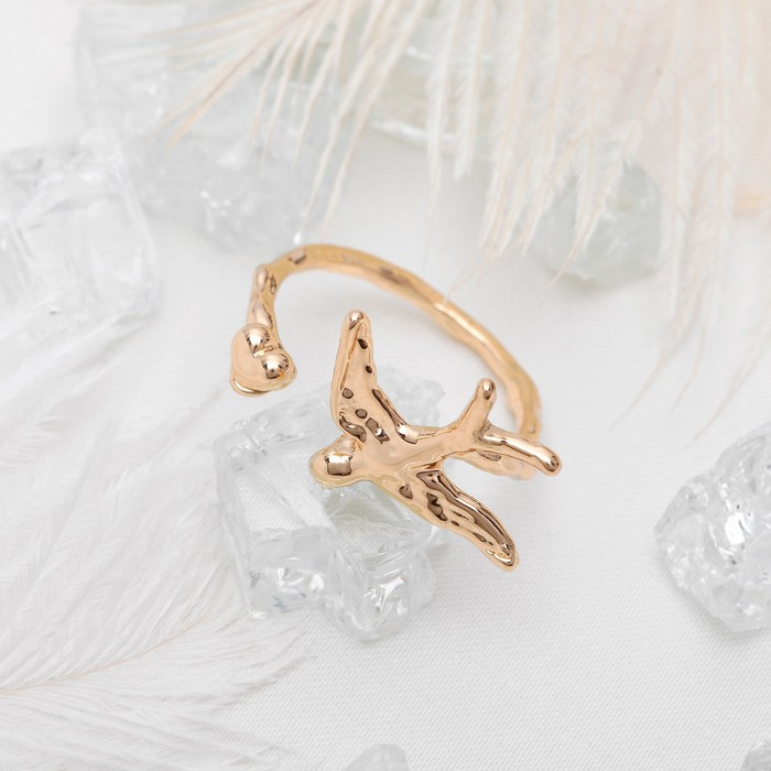 "Кольцо ""Ласточка"", цвет золото, размер 16"