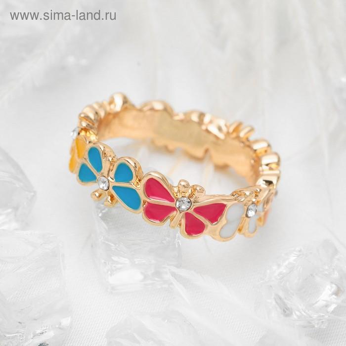 """Кольцо """"Бабочки порхающие"""", цветное в золоте, размер 18"""