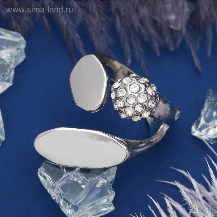"""Кольцо """"Абстракция"""" блеск, цвет белый в серебре, размер 19"""