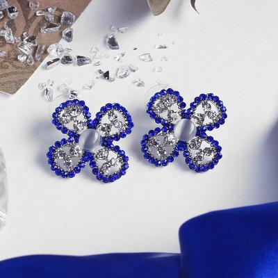 """Серьги """"Цветок"""" четырёхлистник, цвет бело-синий в серебре"""
