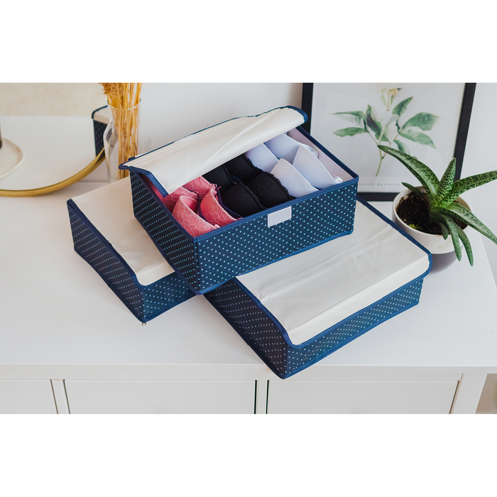 Набор органайзеров для белья с крышкой «Горох», 3 шт, 32×24×12 см, тёмно-синий