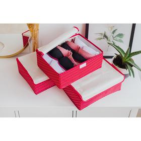 Набор органайзеров для белья с крышкой «Горох», 32×24×12 см, 3 шт, цвет красный