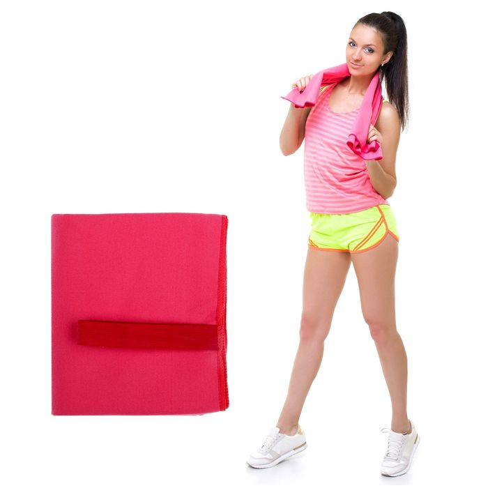Спортивное полотенце ONLITOP, размер 40х55 см (вид 2), розовый, 200 г/м2