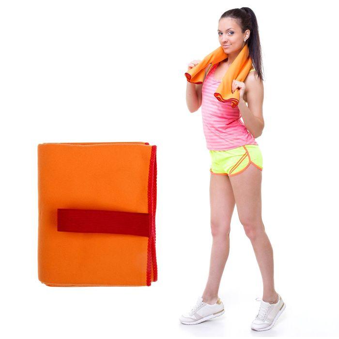 Спортивное полотенце ONLITOP, размер 70х90 см (вид 2), оранжевый, 200 г/м2