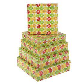 """Набор коробок 5в1 """"Шары и бабочки"""", 34 х 34 х 9 - 26 х 26 х 5 см"""
