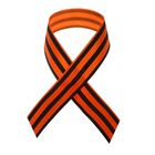 Satin ribbon, 40 cm, colour orange-black