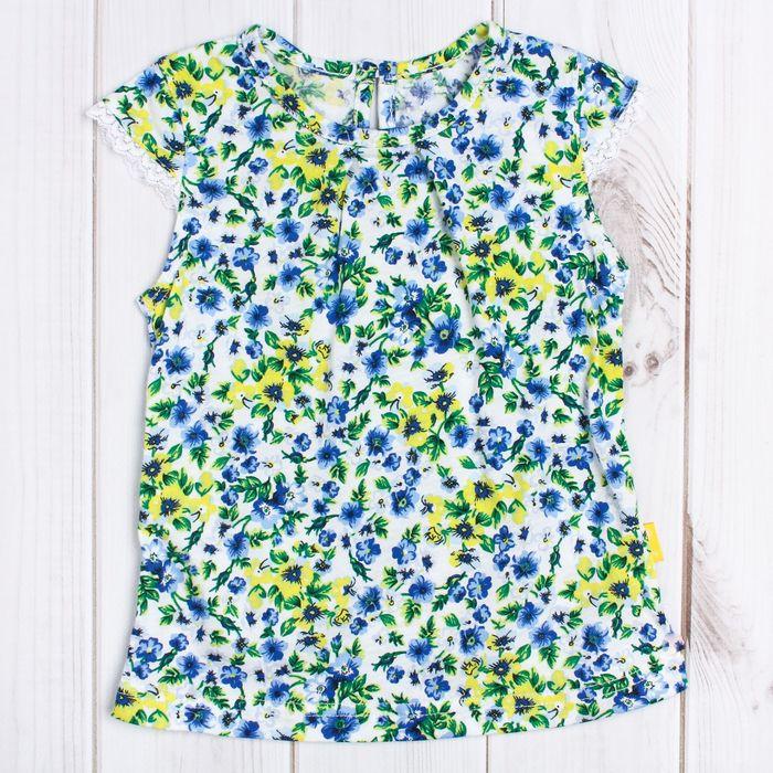 """Блузка для девочки """"Полевые цветы"""", рост 74 см (48), принт полевые цветы ДДК514001н_М"""