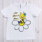 """Футболка для девочки """"Полевые цветы"""", рост 98 см (56), цвет белый, принт пчёлка ДДК504001"""