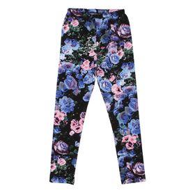 """Легинсы для девочки """"Волшебная радуга"""", рост 128 см, цвет чёрный, принт розы ДРЛ894820н"""