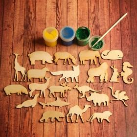 "A set of pieces for art ""Animals"", 21 PC., 6x6 cm"