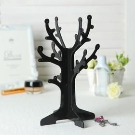 """Подставка под серьги """"Дерево"""" 16.5*16.5*24.5, цвет чёрный"""