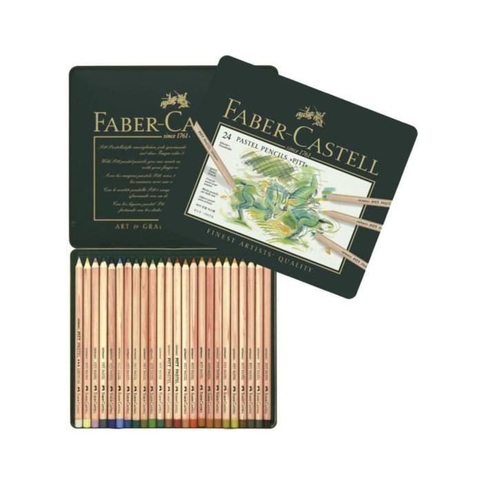 Пастель сухая художественная в карандаше набор Faber-Castell PITT® 24 цвета металлическая кор
