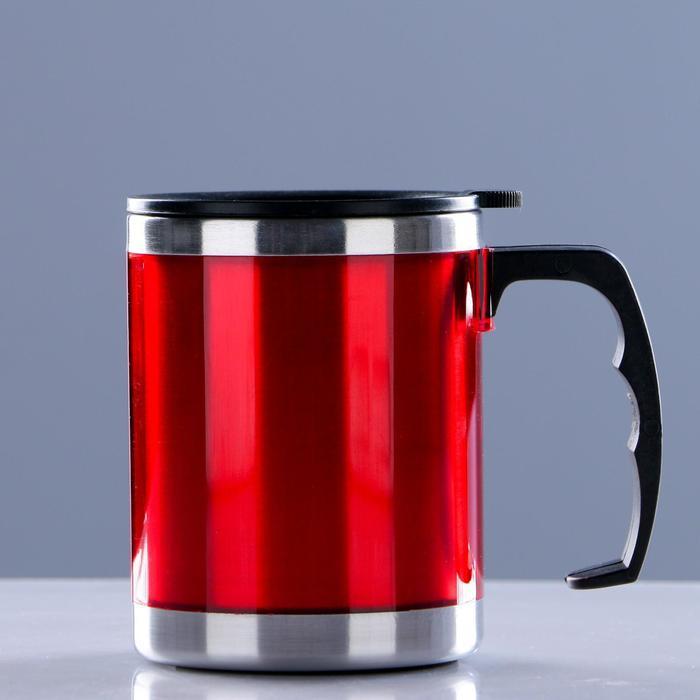 "Термокружка ""Таллер"", 450 мл, сохраняет тепло 2 ч, красная, 11х12 см"