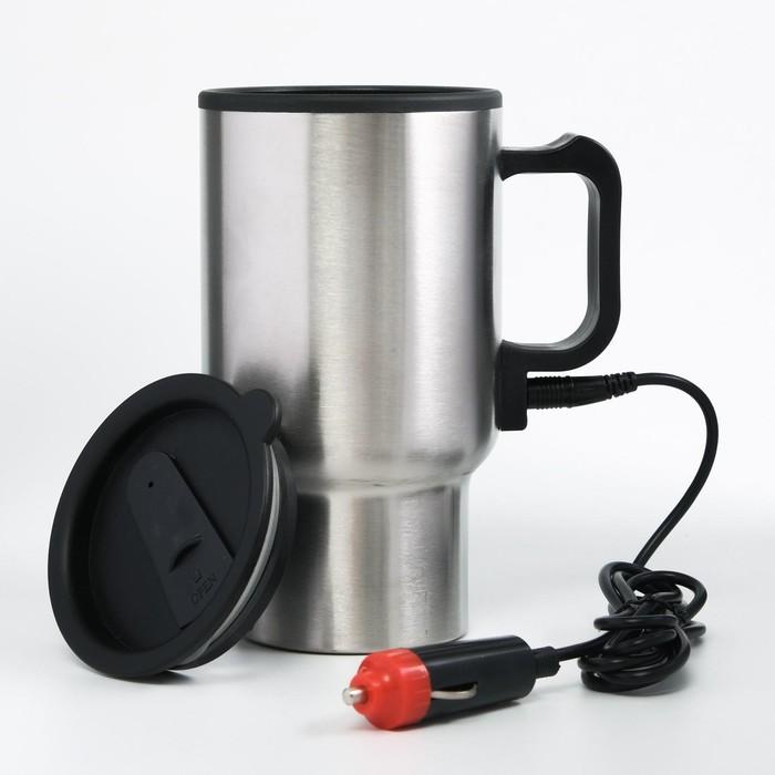 """Термокружка автомобильная """"Вильбон"""" от прикуривателя, 450 мл, металлик, 13х16 см"""