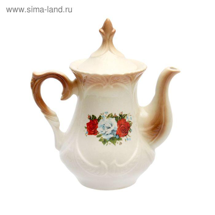 """Чайник заварочный 0,6 л """"Элит"""" коричневый, три розы деколь"""