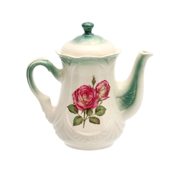 """Чайник заварочный 1 л """"Ажур"""" изумруд, роза деколь"""