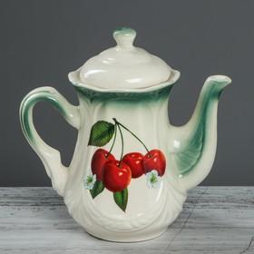 """Чайник заварочный 1 л """"Ажур"""" изумруд, вишня деколь"""