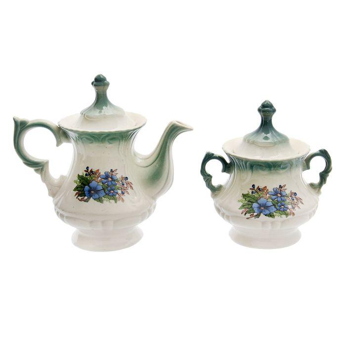 """Чайная пара """"Блиц"""" изумруд, незабудка деколь, чайник 0,6 л"""