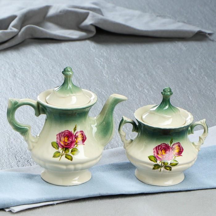 """Чайная пара """"Блиц"""" изумруд, роза деколь, чайник 0,6 л"""