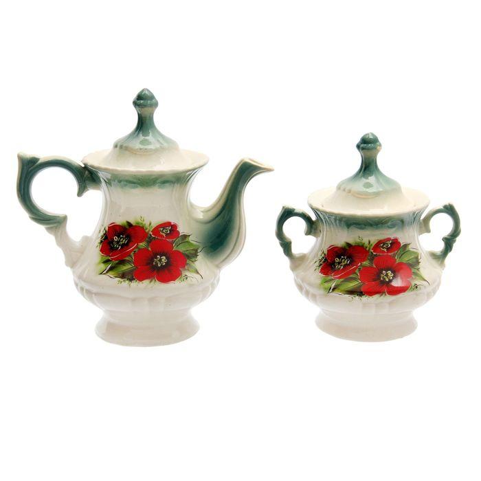 """Чайная пара """"Блиц"""" изумруд, бегония деколь, чайник 0,6 л"""