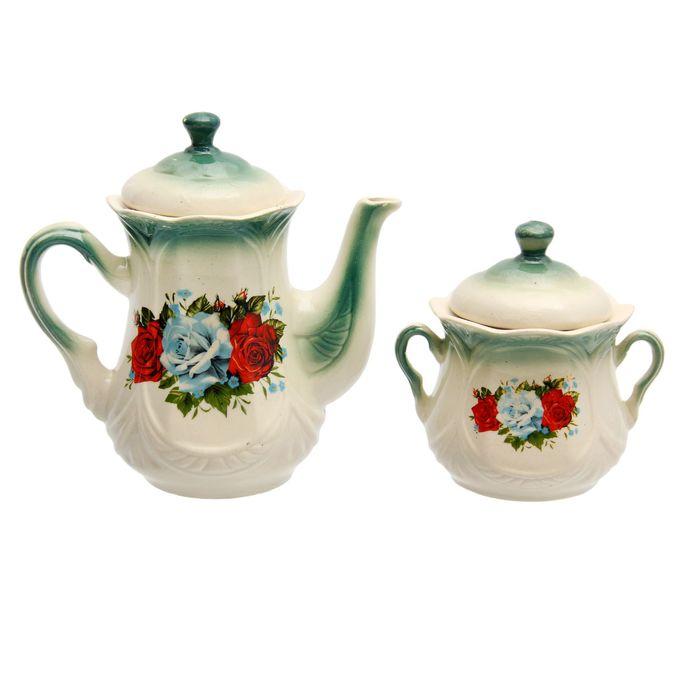 """Чайная пара """"Ажур"""" изумруд, три розы деколь, чайник 1 л"""