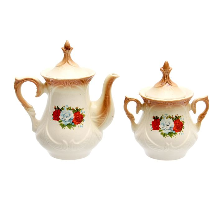 """Чайная пара """"Элит"""" коричневая, три розы деколь, чайник 0,6 л"""
