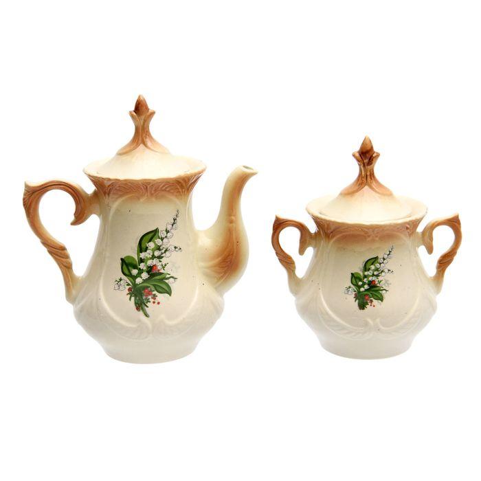 """Чайная пара """"Элит"""" коричневая, ландыш деколь, чайник 0,6 л"""