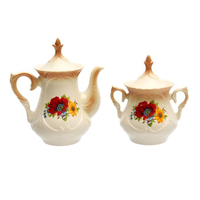 """Чайная пара """"Элит"""" коричневая, красный мак деколь, чайник 0,6 л"""