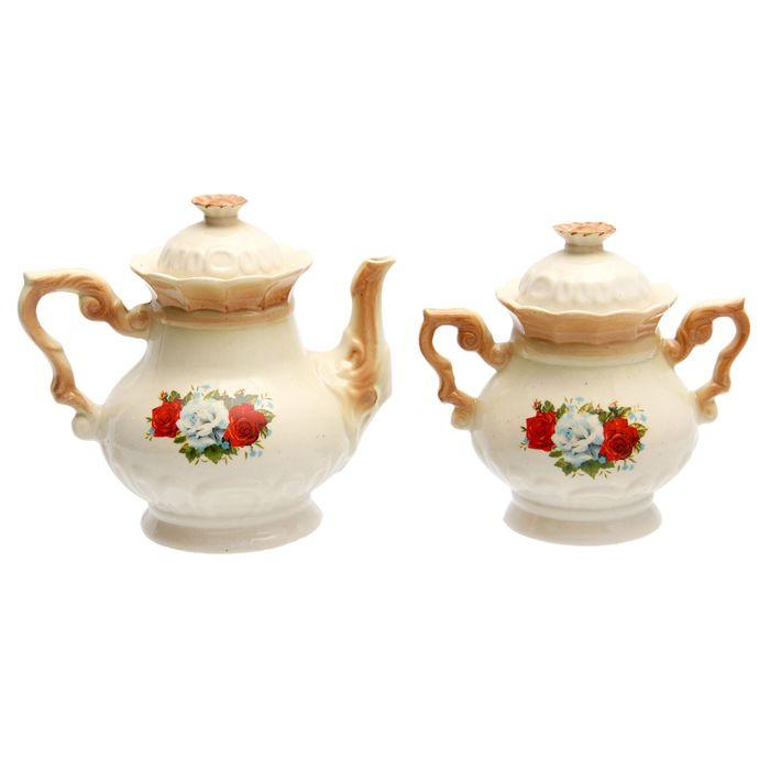 """Чайная пара """"Ромашка"""" коричневая, три розы деколь, чайник 0,6 л"""