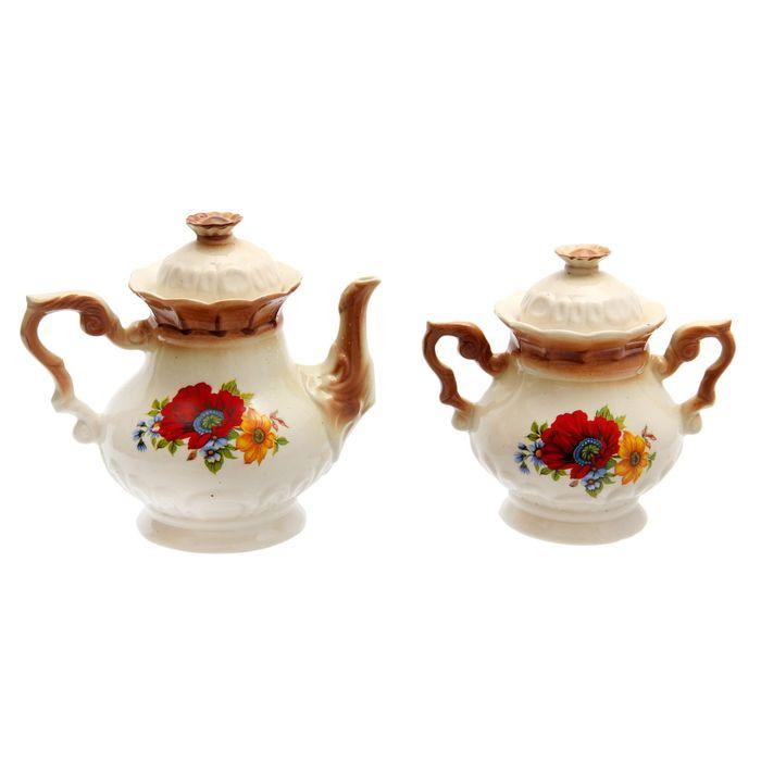 """Чайная пара """"Ромашка"""" коричневая, красный мак деколь, чайник 0,6 л"""