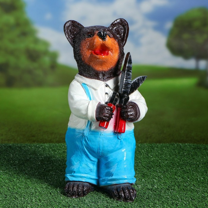 """Садовая фигура """"Медведь с ножницами"""" 14x35 см"""