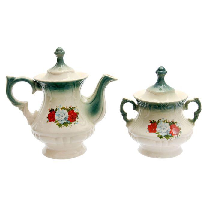 """Чайная пара """"Блиц"""" изумруд, три розы, 0,75/0,55 л"""