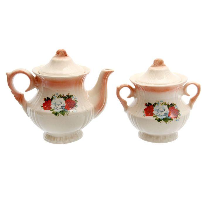 """Чайная пара """"Лорд"""" коралл три розы, 0,75/0,45 л"""