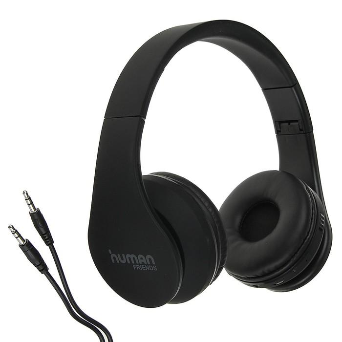 Наушники Human Friends Eden, беспроводные, полноразмерные, микрофон, BT v3.0, 350 мАч,чёрные