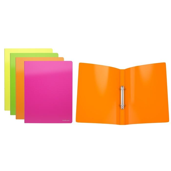 Папка на 2 кольцах А4, 24мм Erich Krause Glance Neon, пластиковая, толщина 500мкм, тиснение - диагональ, вместимость до 100 листов, микс