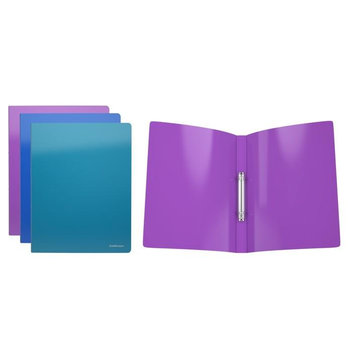 Папка на 2 кольцах А4, 24мм Erich Krause Glance Vivid, пластиковая, толщина 500мкм, тиснение - диагональ, вместимость до 100 листов, микс