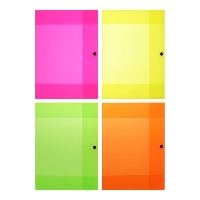 Папка на кнопке с 3 клапанами А4 Erich Krause Glance Neon, корешок 8мм, толщина пластика 400мкм, микс