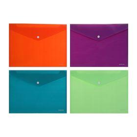 Папка-конверт на кнопке А4, 180 мкм, Erich Krause Envelope, непрозрачная, вместимость 100 листов, микс