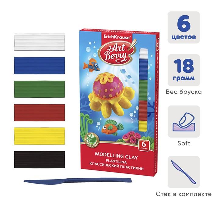 Пластилин 6 цветов, 108 г, ErichKrause, с алоэ вера, со стеком, индивидуальная упаковка брусков, в картонной упаковке