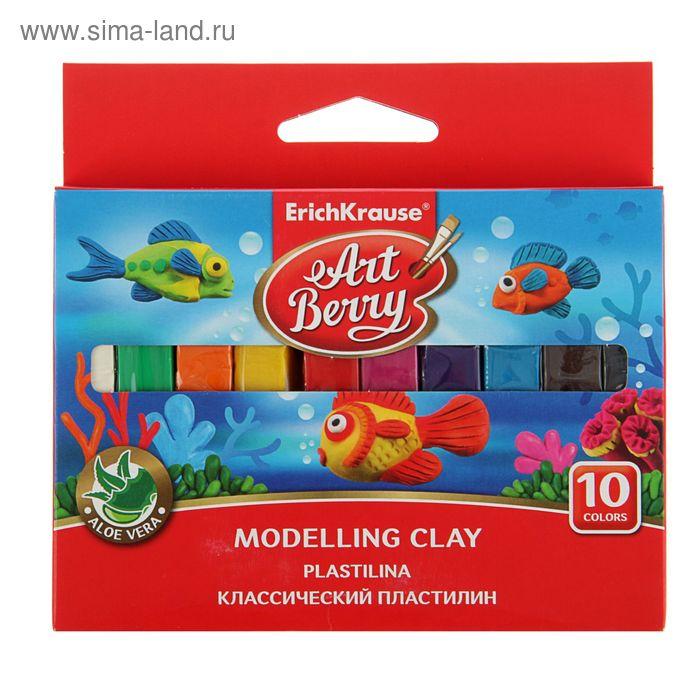 Пластилин 10 цветов 150г с Алоэ Вера ArtBerry, индивидуальная упаковка брусков, европодвес