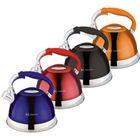 Чайник металлический Rainstahl, со свистком, объём 2,7 л, капсульное дно, цветные ручки, микс