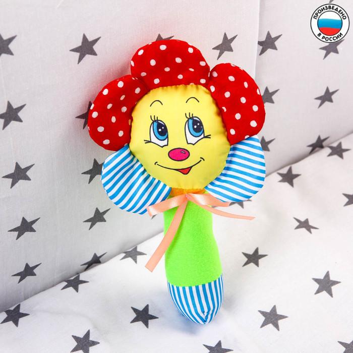 Погремушка на палочке «Цветочек», цвет МИКС - фото 76137080